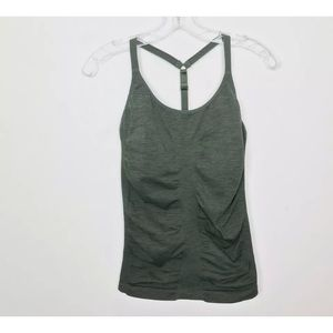 Athleta Green Uptempo Ruched Y Back Workout Tank